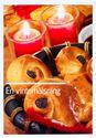 Bild på Vykort- Vinterhälsning lussebullar